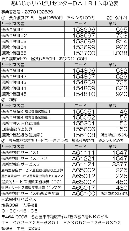 千代ヶ丘1日型単位表