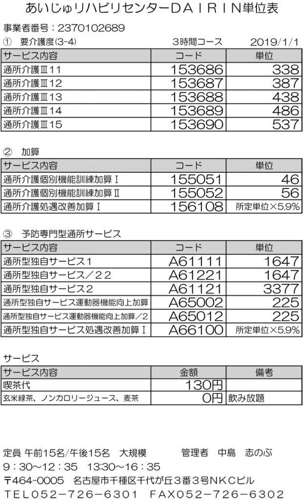 千代ヶ丘半日型単位表